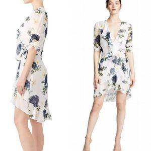 NWT NICHOLAS Blue Rose Ruffle Silk Wrap Dress